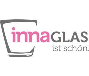 Jarrón / botella de vidrio KAYRA con macramé, transparente, 15,5cm, Ø8cm