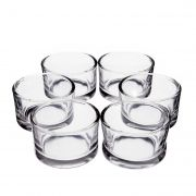 6x Pequeño vaso de cristal / Portavelas TAMIO, transparente, 3,5cm, Ø 5cm
