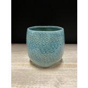Keramik Blumenttopf IGNACIA, Wellenmuster, hellblau, 11,5cm, Ø11cm